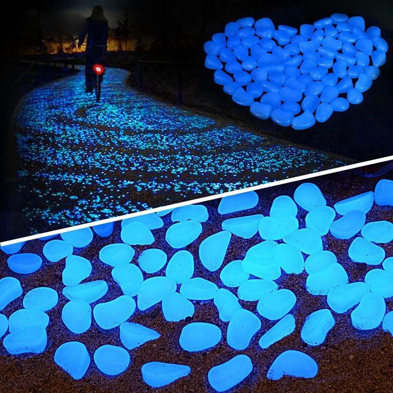 Bahçe Dekor Aydınlık Taşlar Glow In The Dark Dekoratif Çakıl Açık Fish Tank Dekorasyon Çakıl Akvaryum Mix Renk H1207 Rocks