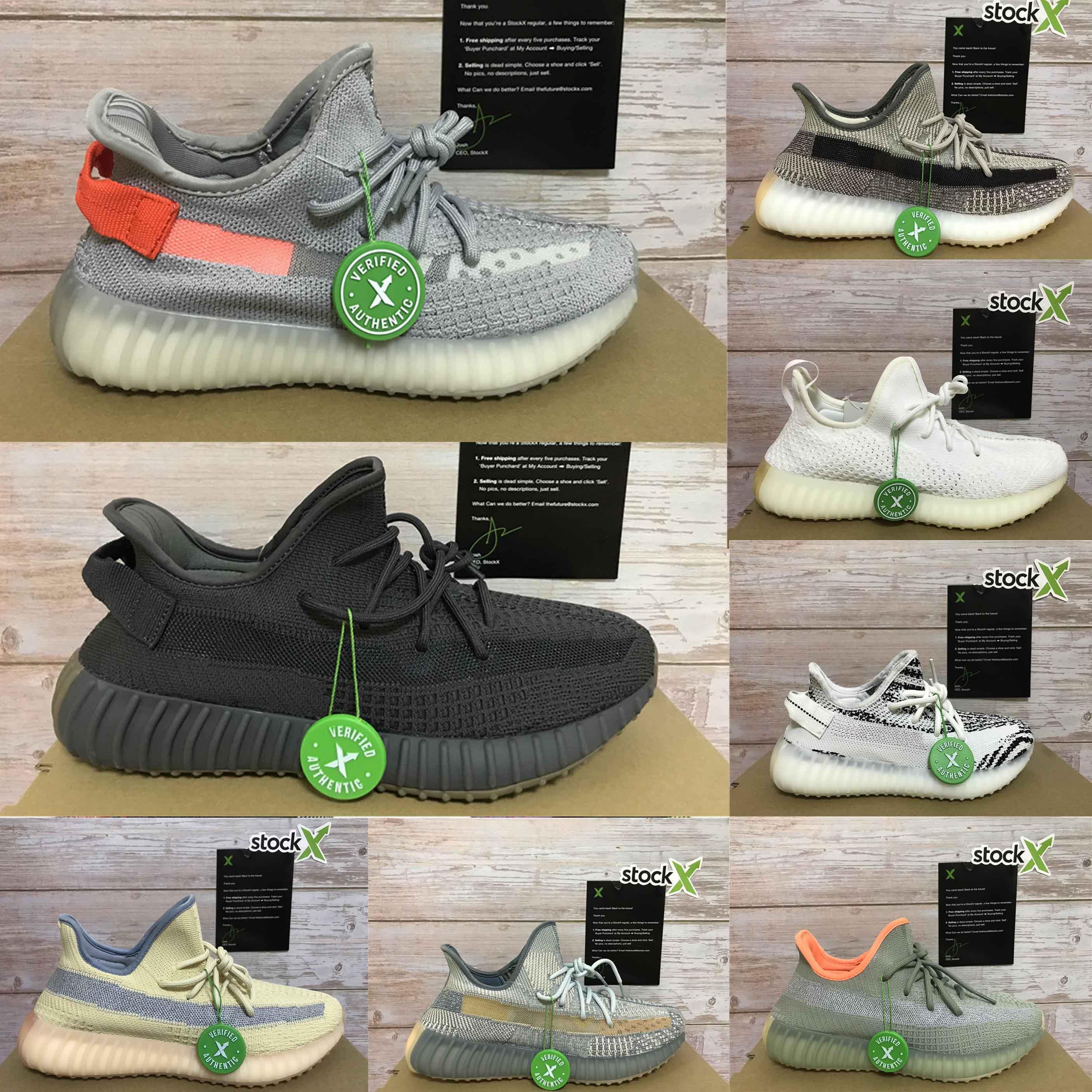 2020 Ejecución de la cola de la zapatilla de deporte de Kanye West luz de ceniza zapatos Yecheil Yeezreel hiperespacio Lundmark Antlia estático reflectante cebra MarshTOP calidad