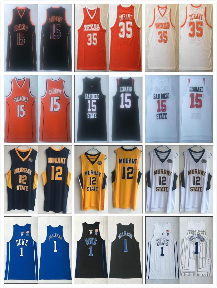 NCCA Basketball Jersey Kawhi Leonard Syrakus Anthony 15 Murray Bundesstaat Morant 12 Willamson Duke 1 Männer Durant 35 Texas College-Trikots
