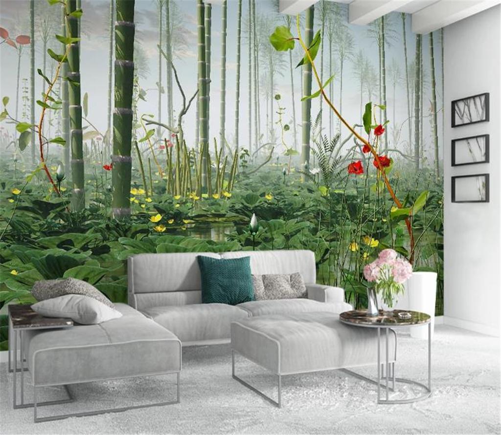 사진 3 차원 벽지 현대 간단한 3D 로터스 대나무 풍경 사용자 정의 벽 종이 벽 홈 장식