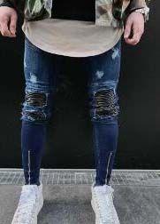 Les nouveaux hommes jeans skinny Casual Jeans Denim Biker Slim genou trou hiphop Pantalon Ripped Lavé de haute qualité