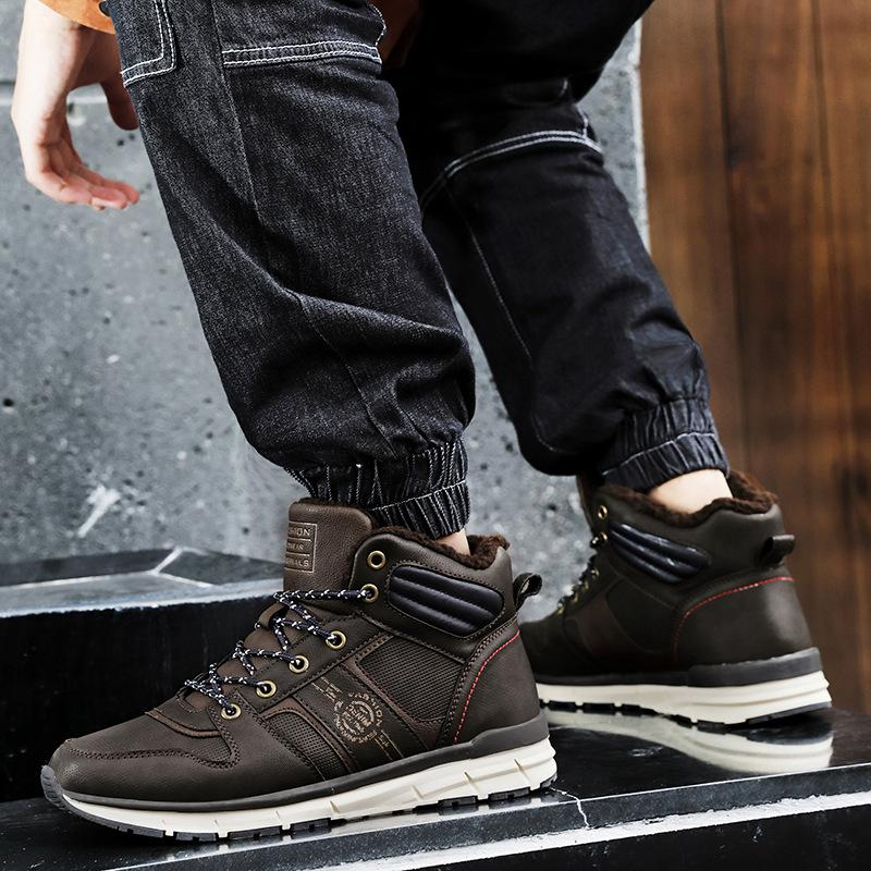 Genuine Leather Warm Men Boots,Comfortable Ankle Men Shoes,Quality Snow Boots