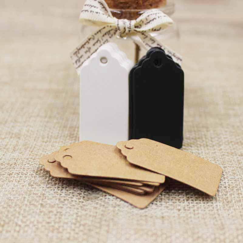 Verpackungsetikett 1000 stücke Braun Kraft / schwarz / weiß Papier Tags DIY jakobsmuschel Label Hochzeitsgeschenk Dekorieren Tag 2 * 4 cm