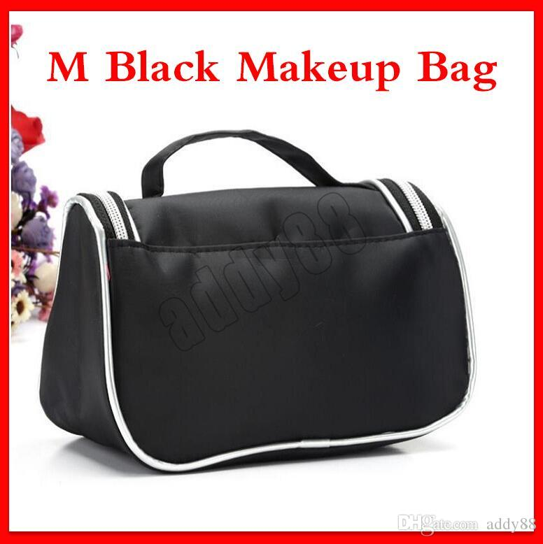 Hot Fashion M Black Makeup Bag Travel Beauty Cosmetic Bag Organizer Case Make Up Waterproof Toiletry Bag With Mirror