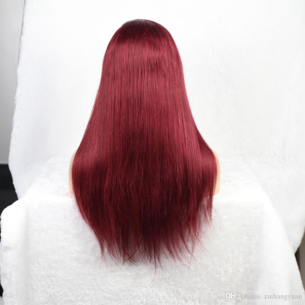360 del cordón del pelo humano peluca delantera 13X6 parte profunda Preplucked brasileña Remy pelucas llenas Borgoña 150% de densidad para las mujeres Negro