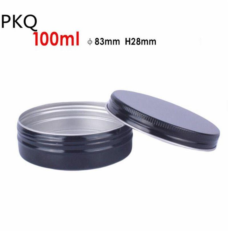 Pot en aluminium vide de pots de 60pcs 100ml noir / or pots de récipients cosmétiques avec le revitalisant crème pour les yeux crème pour les cheveux Tin Cosmetic Metal
