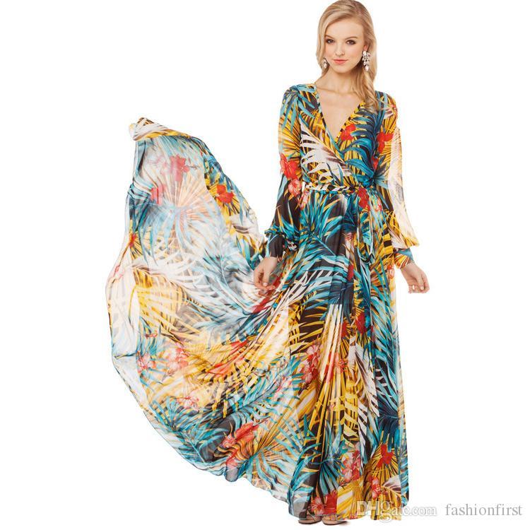 Bohemian şifon fener kollu uzun kollu rainforest v boyun elbise tropikal elbise zarif bayan plaj yaz elbise