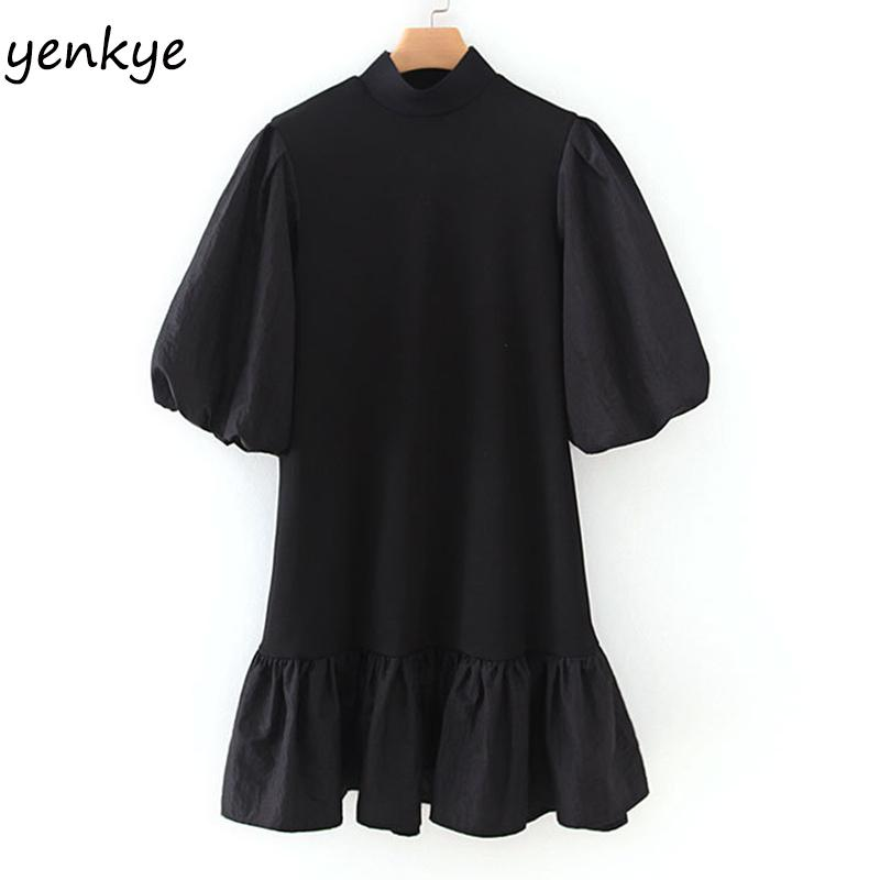 Frauen Vintage schwarzes Patchwork Strickkleid Dame hohe Ansatz Laterne Hülse A-line Minikleid Short XZWM19205