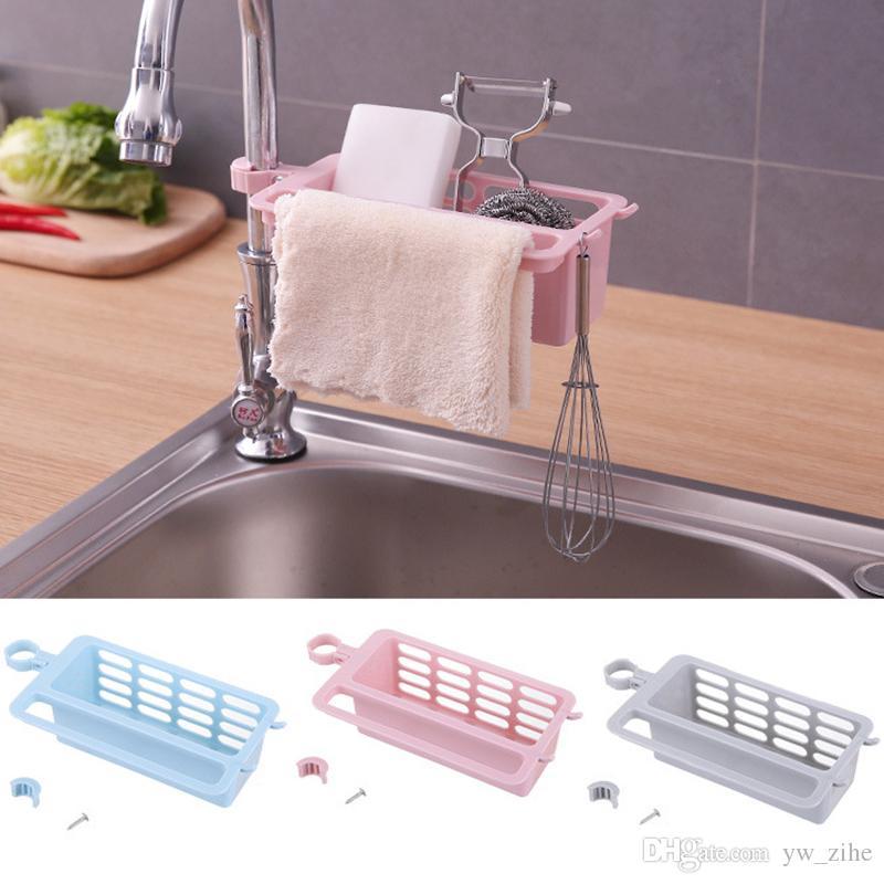 1PC del fregadero de cocina Esponja de almacenamiento en rack de drenaje Jabonera cepillo Organizador de cocina Accesorios de baño toalla del sostenedor del estante de plástico wh0150