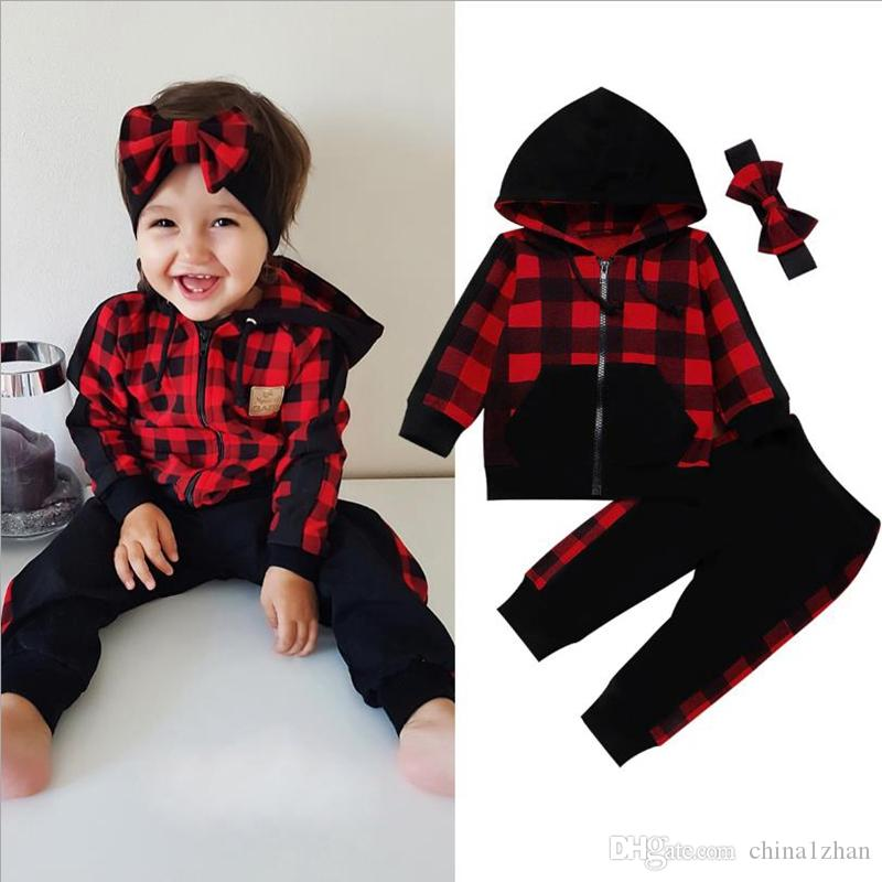 Baby Girl Clothes Lattice Toddler Girls Hoodie Pants Headband 3pcs Sets Plaid Tracksuit Designer Children Outfits INS Baby Clothing DW4820