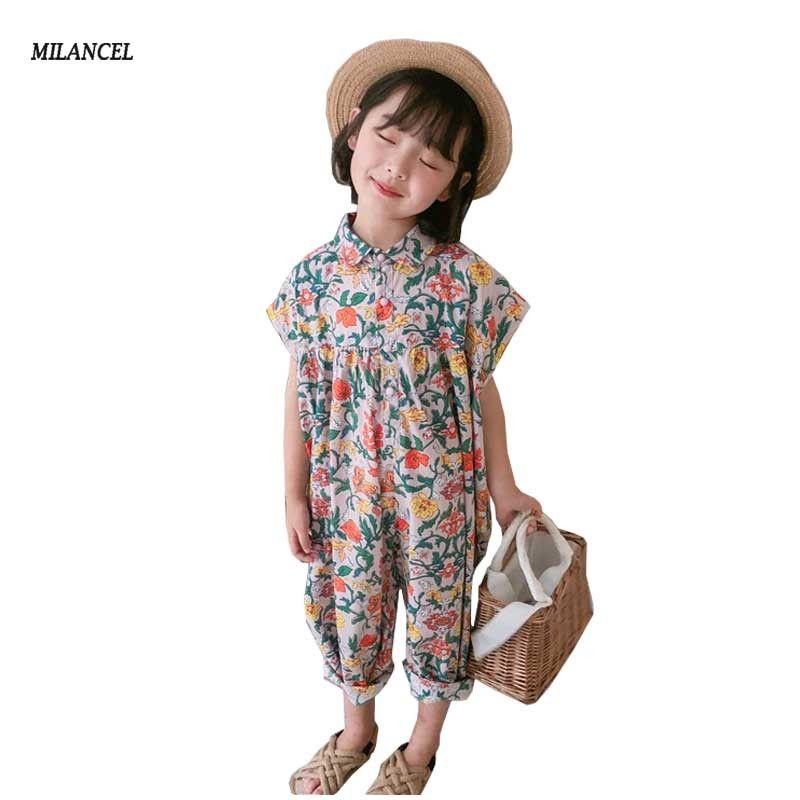 kız harem pantolon MILANCEL kız tulum yaz çiçek kız tulum tulum Koreli kızlar Y200704 palysuit