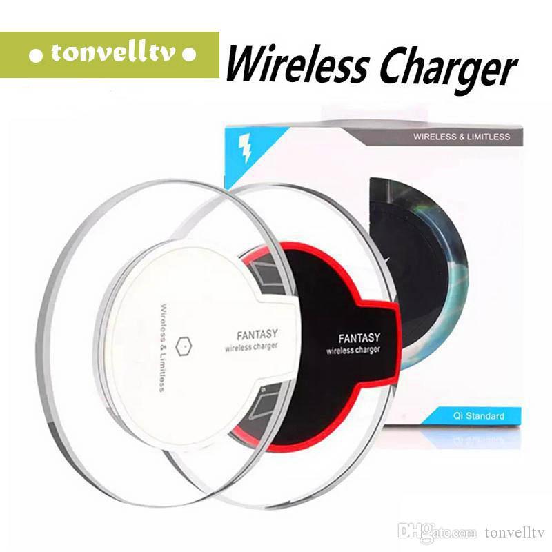 Qi cristal Chargeur sans fil Pad rapide Fantasy Pad Charging haute efficacité avec emballage vendu au détail pour le bord de Samsung S6 de s8, plus iphone 8