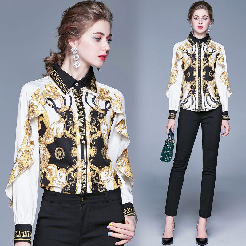 Lüks Barok Vintage Gömlek Kadınlar Pist Uzun Kollu Yaka Boyun Bayanlar Düğme Gömlek Bluz Şık Ofis Tasarımcı Gömlek Tops yazdır