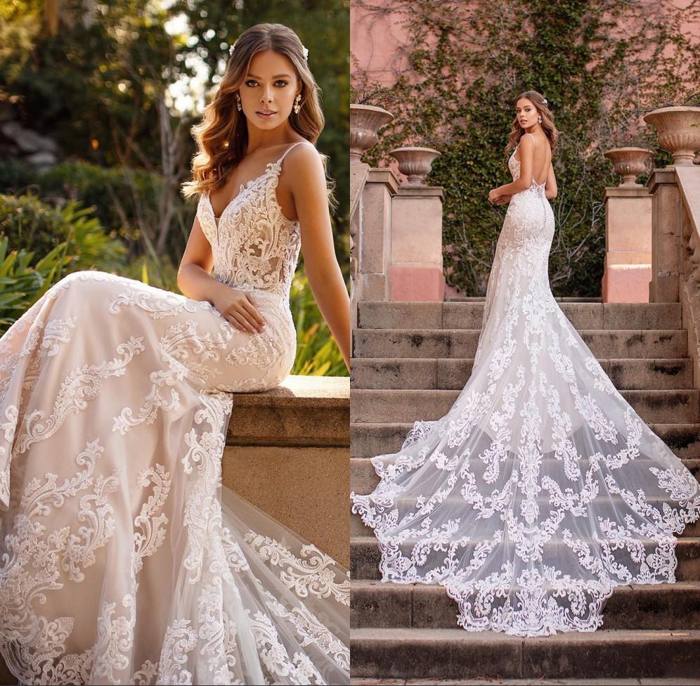 2020 sirène robes de mariée en dentelle bretelles spaghetti plage Robes de mariée Appliques Personnalisées dos ouvert balayage train Robe de mariée