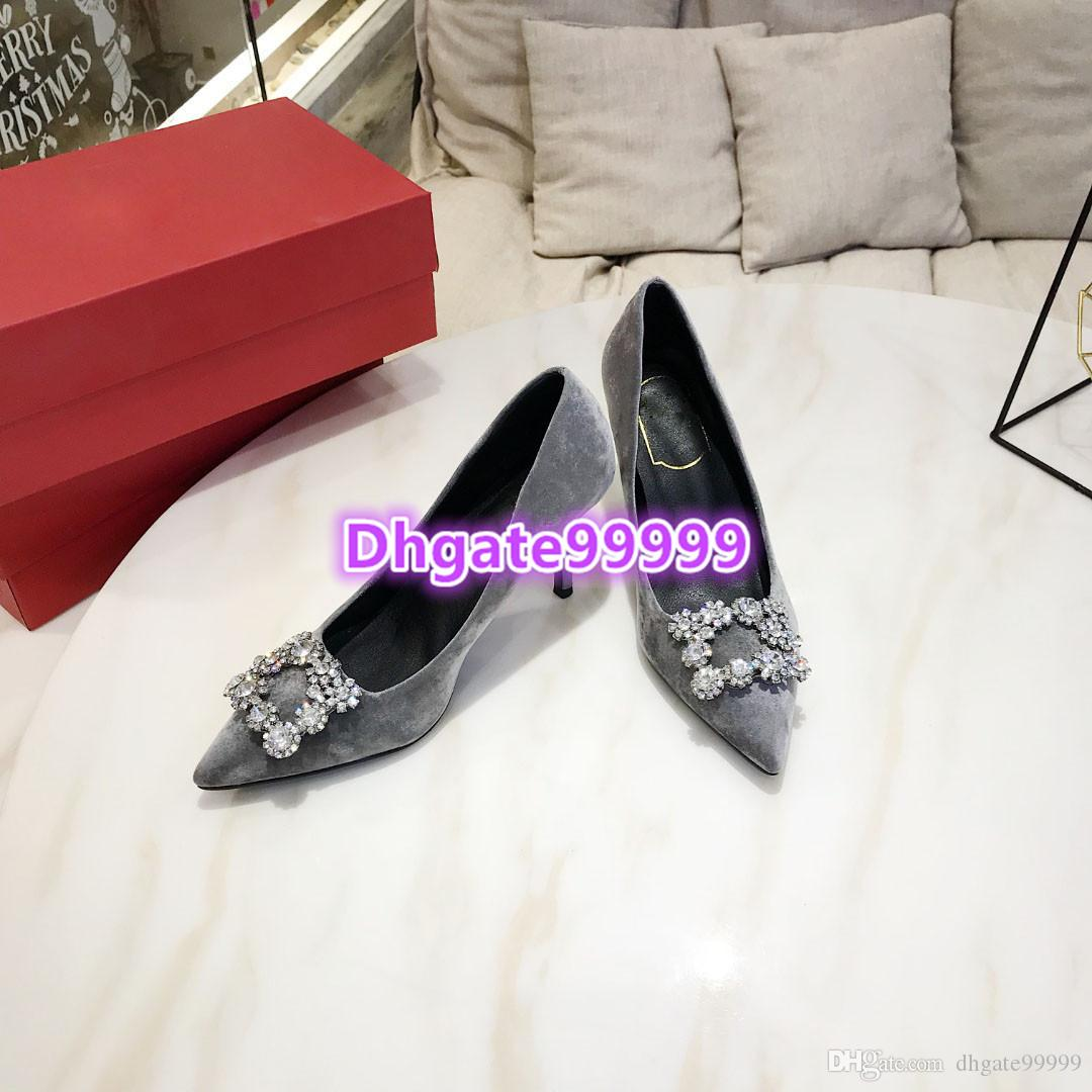 women pointed pump velvet sandal 2019 dress shoes summer fashion buckle with crystal rhinestone high heel sandals spring girl pumps