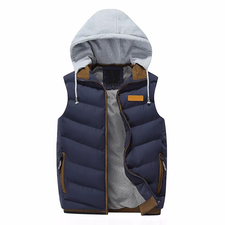 2017 Marka Erkekler Kış Ceket Casual Kalın Yelek Erkek Kolsuz Hoodie Coats Erkek Sıcak pamuk dolgulu Yelek L-3XL