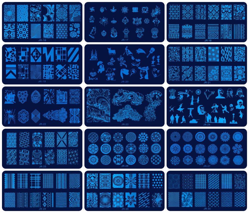 30 Pcs JR Prego Carimbar Placas de Aço Inoxidável 30 Estilos de Imagem Konad Stamping Nail Art Template Manicure Prego Selo ferramenta