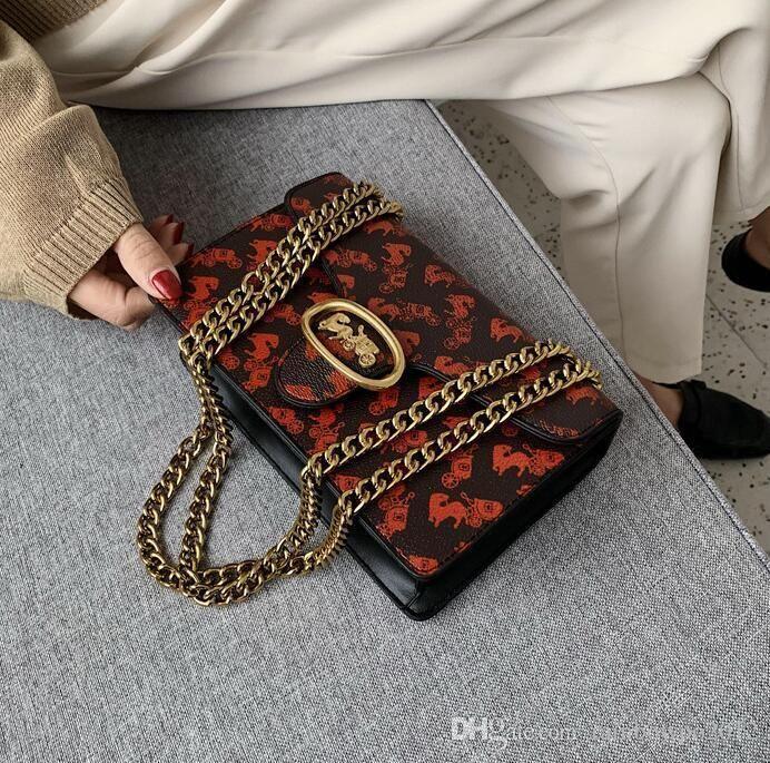 women handbag western style printed women chain bag new personality golden buckle shoulder bag street fashion printed leather fashion bag