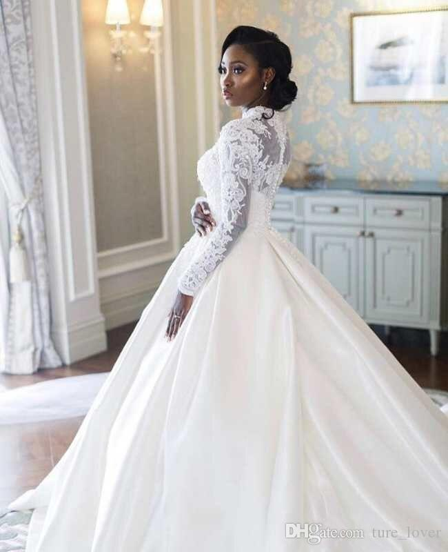 Afrique manches longues col haut musulmanes robes de mariée 2019 Taille Plus dentelle satin Une ligne appliques de mariage __gVirt_NP_NNS_NNPS<__ Robes de mariée musulmans