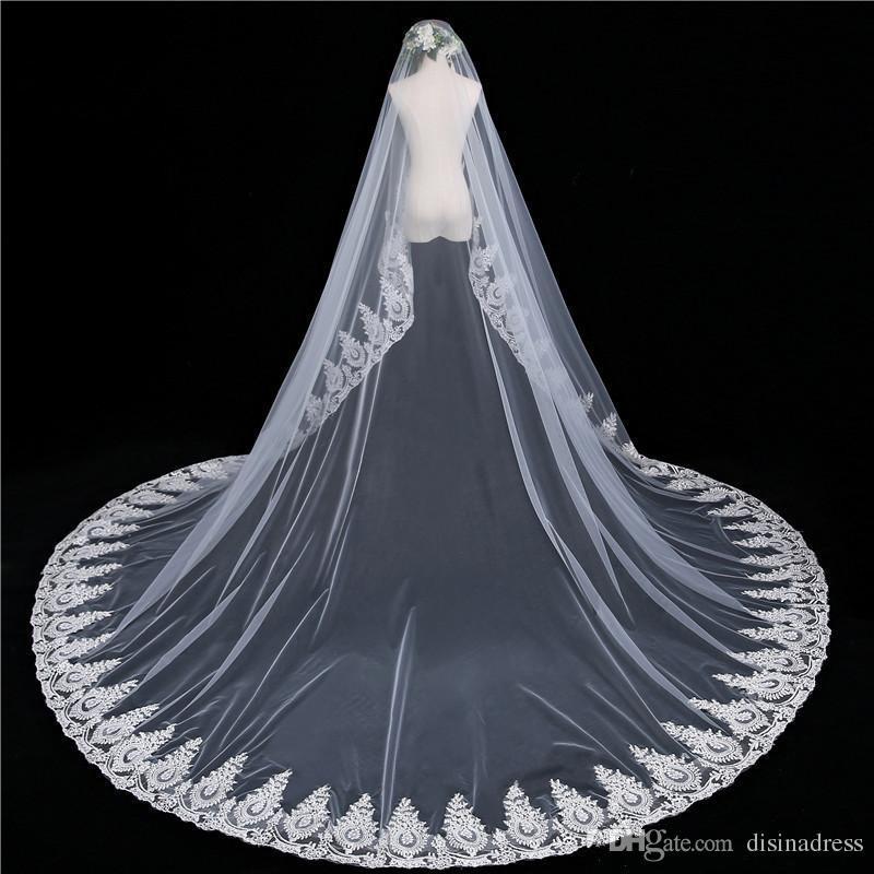 Eine Schicht Brautschleier Kathedrale LängeApplique Braut Brautschleier Blusher Gesicht Hochzeit Zubehör Velo vestido de novia