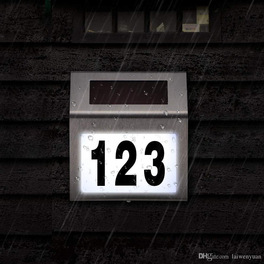 Solarbetriebene LED-Licht-Zeichen Haus Hotel-Tür-Adresse Plaque Wasserdicht Anzahl Digits Platte Lampe für Beleuchtung für Zuhause-Zeichen White Light 10161