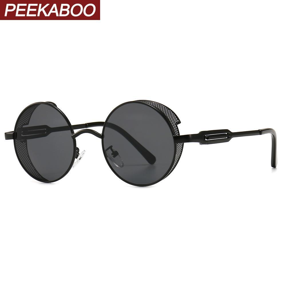 Peekaboo Retro Sunglasses Rodada Side Shields Metal Frame Feminino Vintage Sun Glasses For Men Punk Moda Preto VwSft Brown