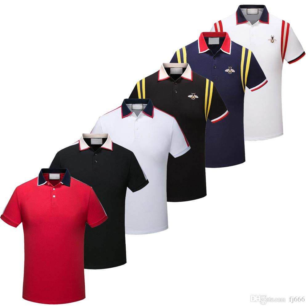2019 Fashion Men Polo Shirts Short Sleeve Polo T Shirts Snake Bee Floral Embroidery High Street Mens Polos Shirt
