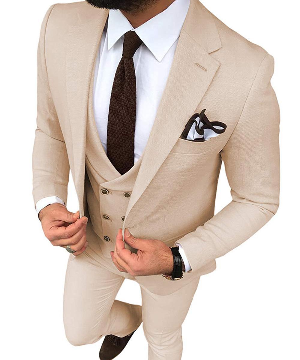 Mode 3 Pieces Hommes Costume 2020 smokings marié Groomsmen Beige Slim Fit Blazer Hommes Notch Lapel mariage / costumes de bal / dîner (veste + pantalon + Gilet)