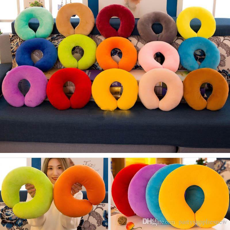 Sólida Em Forma de U Travesseiro Macio de Pelúcia Pescoço Throw Pillow Brinquedos Nap Para O Resto de Viagem Estudante Adulto Crianças Presentes de Natal