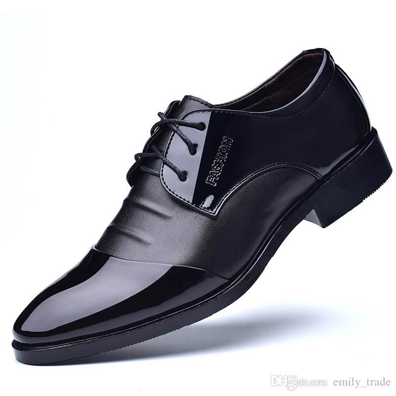 Die neue pu-leder mode für männer business kleid loafers spitze schwarze schuhe oxford atmungsaktiv formale hochzeit schuhe