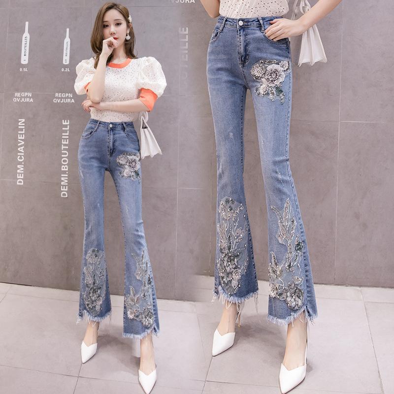 Тяжелая промышленность вышивка джинсы Женщины 2019 # Гао талии вышивки ногтей Бисер Slim Fit Тонкий Burr микро-тянуть штаны