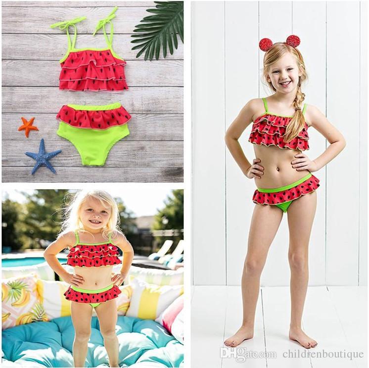 Baby Kids Girls Two Pieces Sleeveless Swimwear Red Lace Boy-Leg Swimsuit Bathing Suits