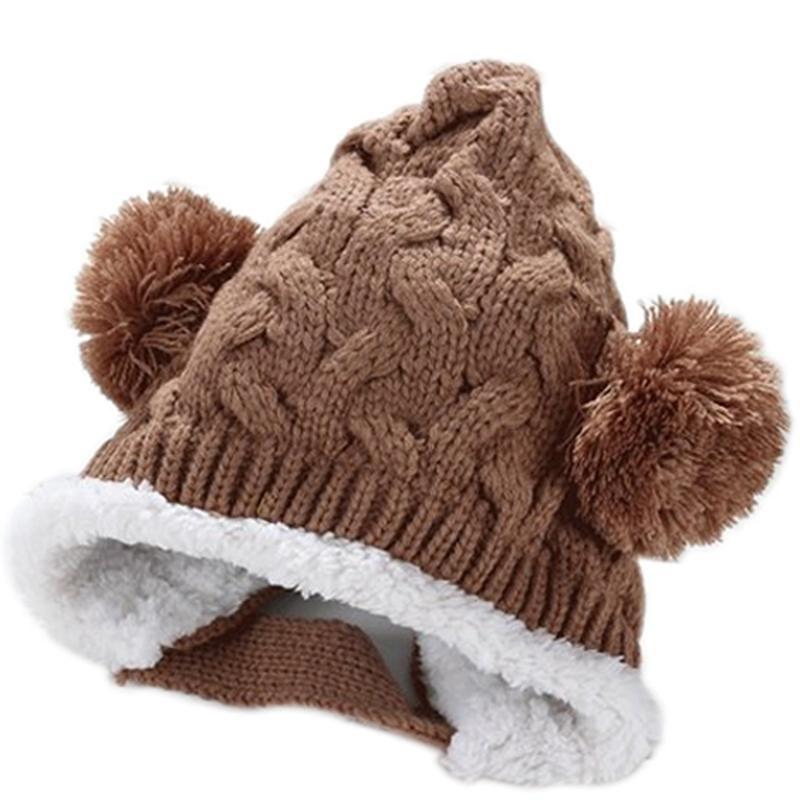 Keep ear warm!Baby Bonbon Pointed Knit cap knit hat Girl boy baby kids children knit winter hat (Coffee)