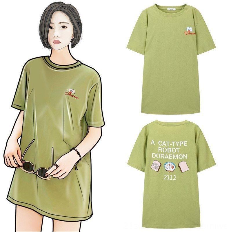 Ermo Doraemon de marca -sleeved femenina 2020 de moda larga tapa floja Ermo Doraemon de marca compartida corta -sleeved hembra de la camiseta de la moda 2020