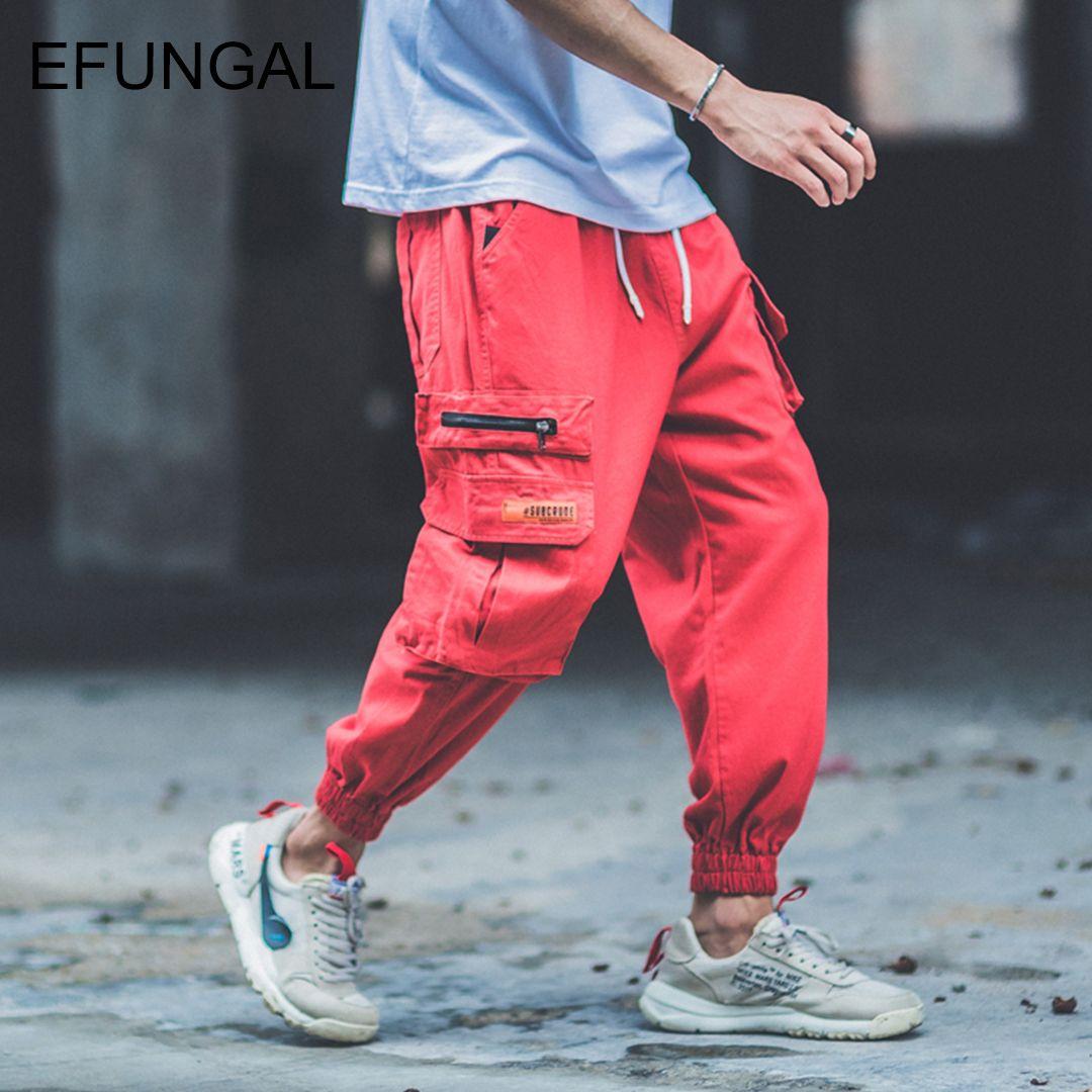 EFUNGAL Track Pants Men Pockets Fashion Harajuku Streetwear 2019 Spring Baggy Style Hip Hop Joggers Male Harem Sportswear FD94
