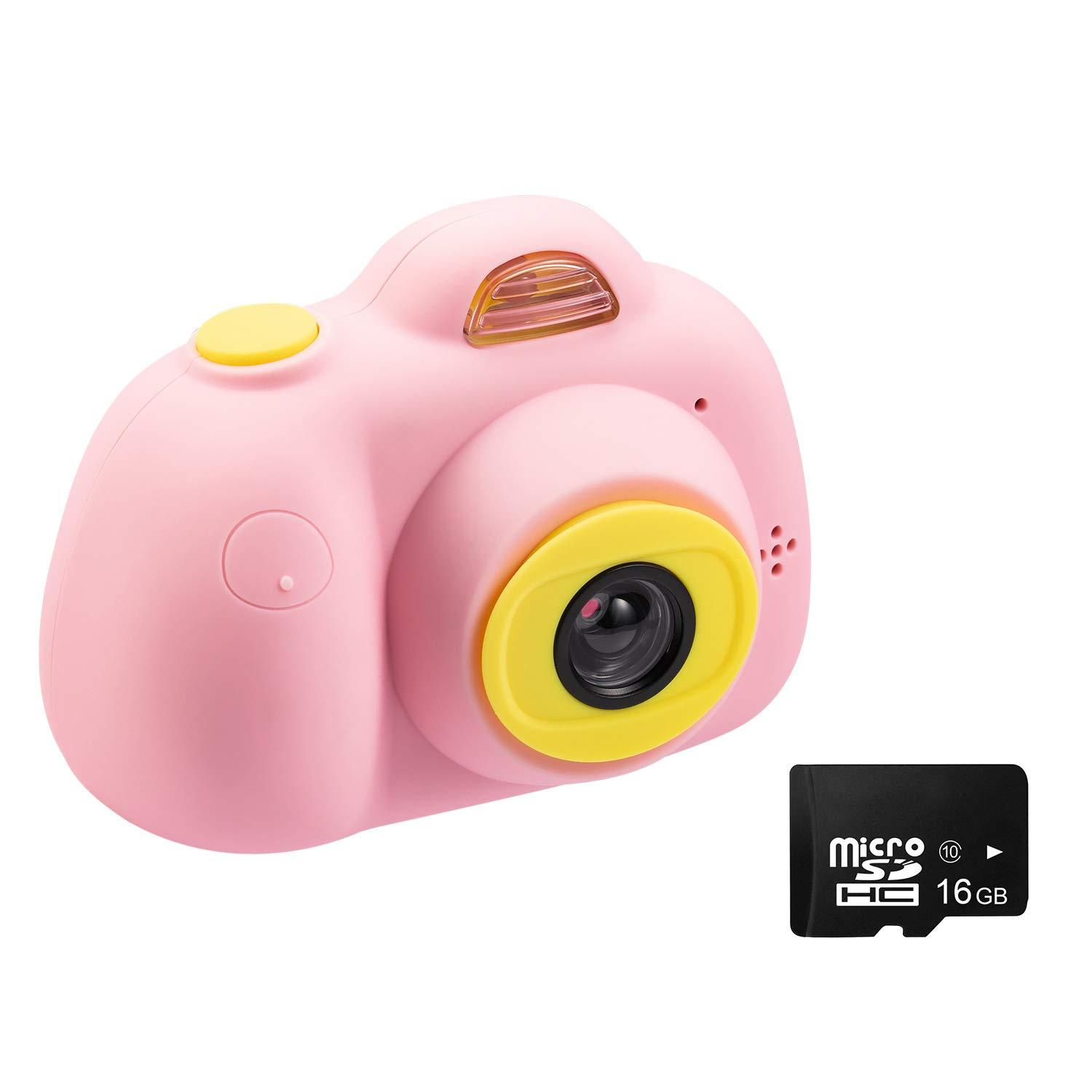 Kids Camera Video Cameras Gifts for Girls, Mini Rechargeable Children Shockproof Digital Camcorders 8MP 2 Inch Screen 16GB SD Card