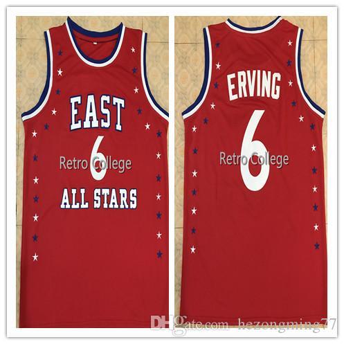 # 6 Julius Erving 1972 All Star Ricamo cucito Jersey di pallacanestro Mens cucito su misura Qualsiasi Numero Nome maglie