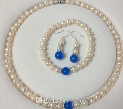 Hot7-8mm White Akoya Cultured Pearl Blue Sapphire Necklace Bracelet Earrings Set
