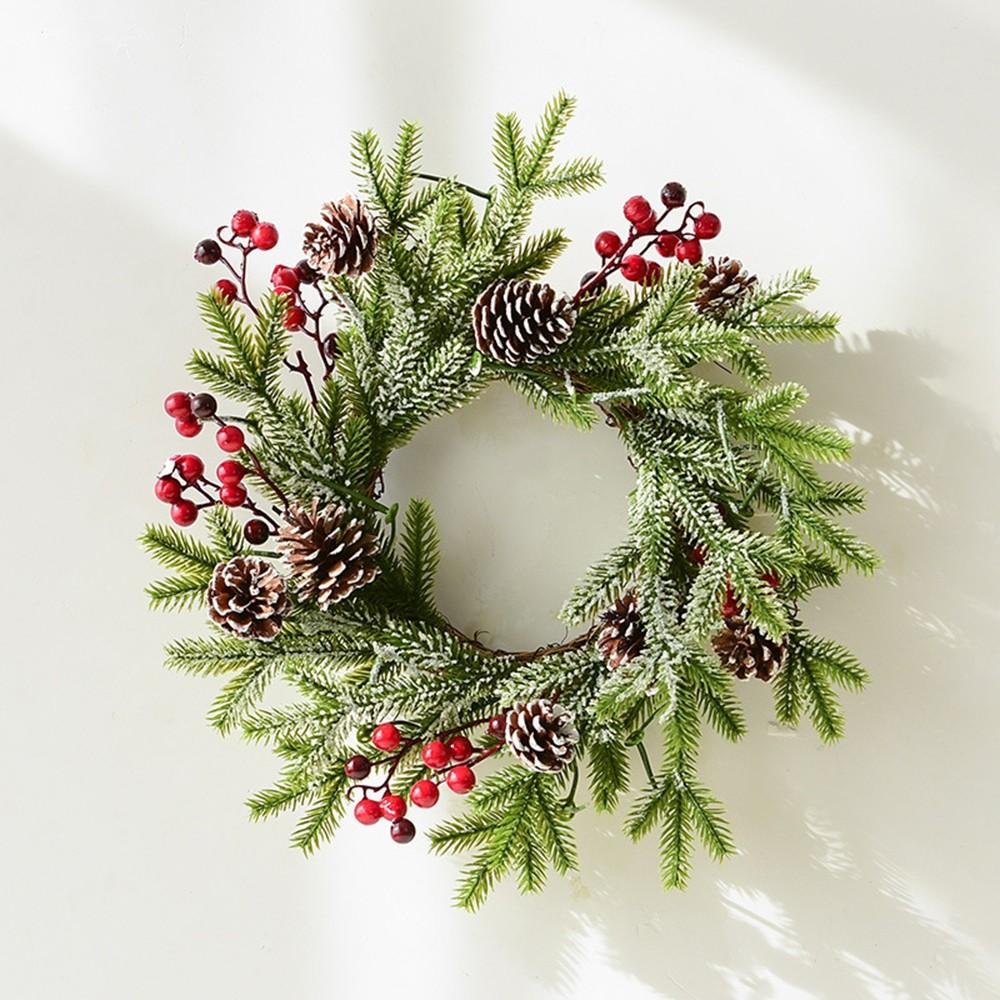 Christmas Simulation Wreath Red Berry Pine Cone Embellishment Snow Flocking Garland for Home Christmas Hanging Ornaments