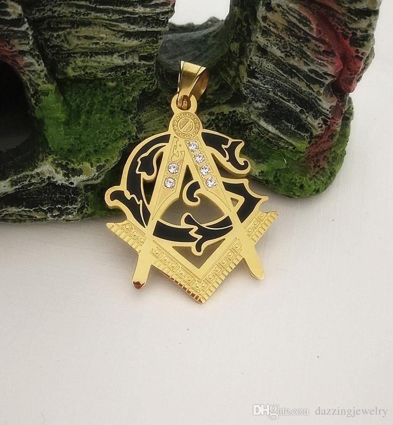 Unique Design Men Stainless Steel 18K Gold Silver Masonic Free Mason Pendants Freemasonry Big compass and square masonic signs pendant jewel