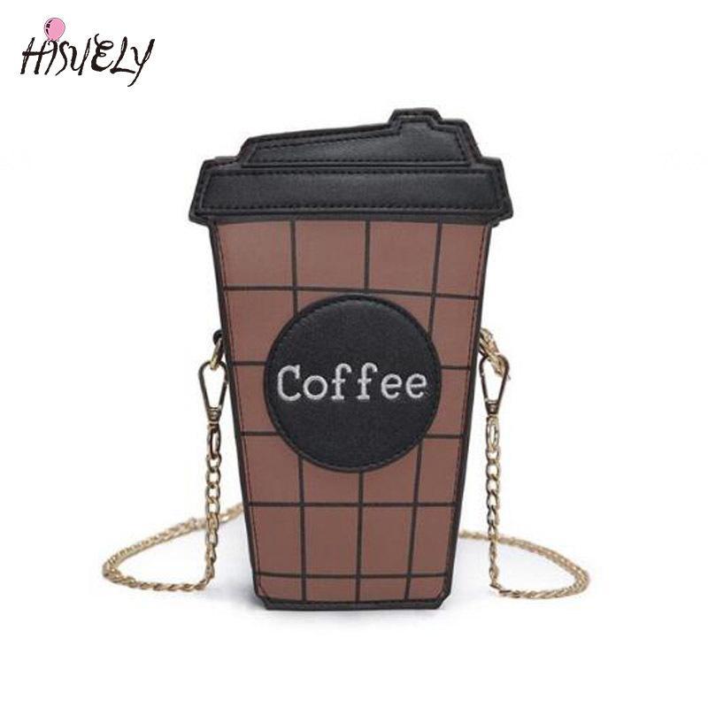 2020 Личности чашки кофе смешного мешка плеча письмо дизайн хит цвет плед мини-цепи сцепление кошелек дама сумка T200619