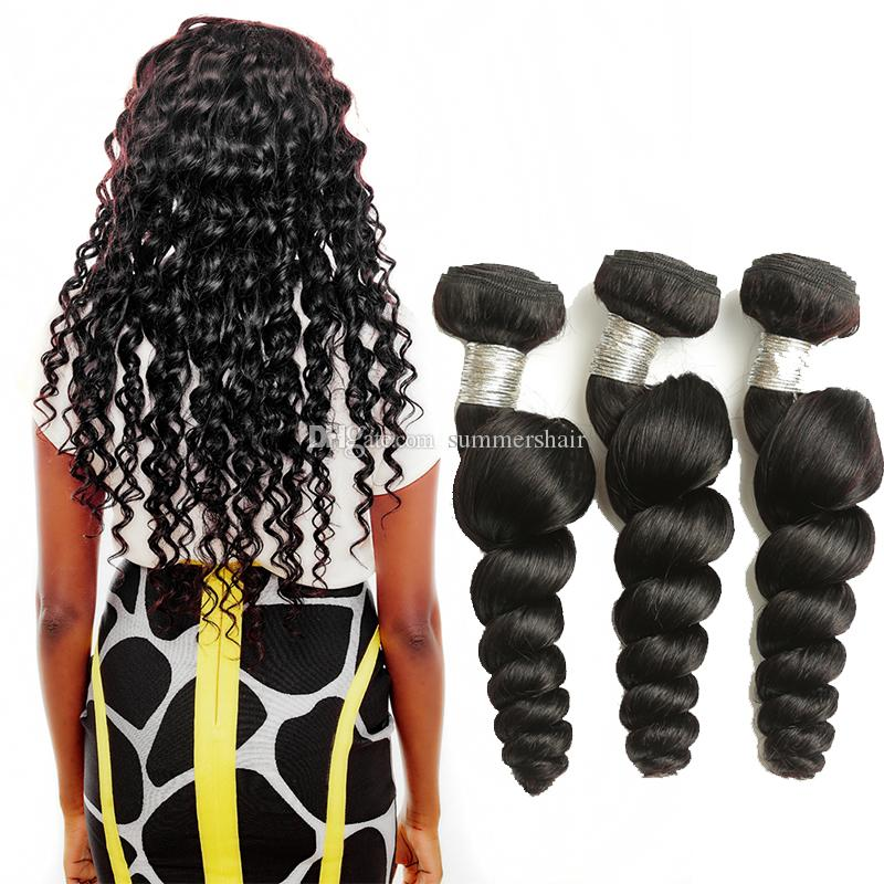 Brazilian Loose Wave Hair Bundles 100% Human Hair Weave Natural Black Remy Hair Extension 8-28 Inch Can Buy 1/3/4pcs