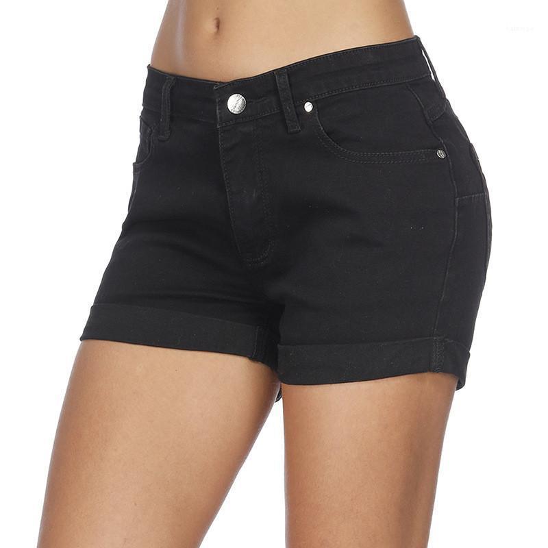 Shorts Preto Cor Mulheres Jean Shorts Moda rasgado cintura alta Skinny Calças Curtas Casual mulheres Verão