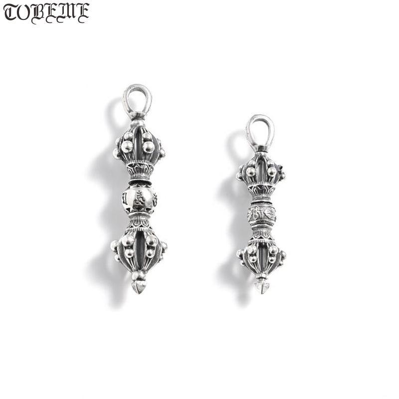 100% 925 Silver Tibetan Pendant 925 Sterling Tibetan Six Words Dorje Pendant Buddhist Vajra Good Luck Amulet