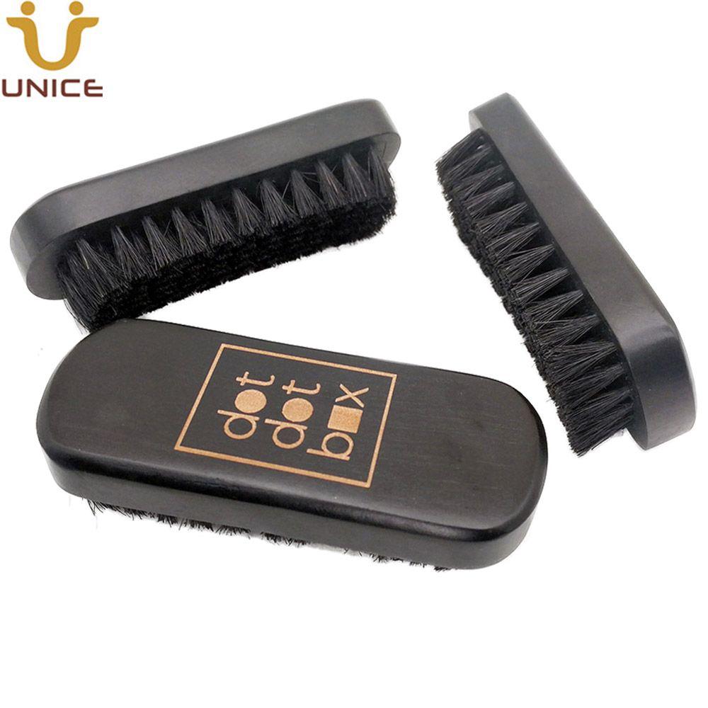 50pcs/lot Good Quality Customized LOGO Rectangle Black Wood Beard Brush Pure Boar Bristle Brush for Men Grooming Whiskers Moustache