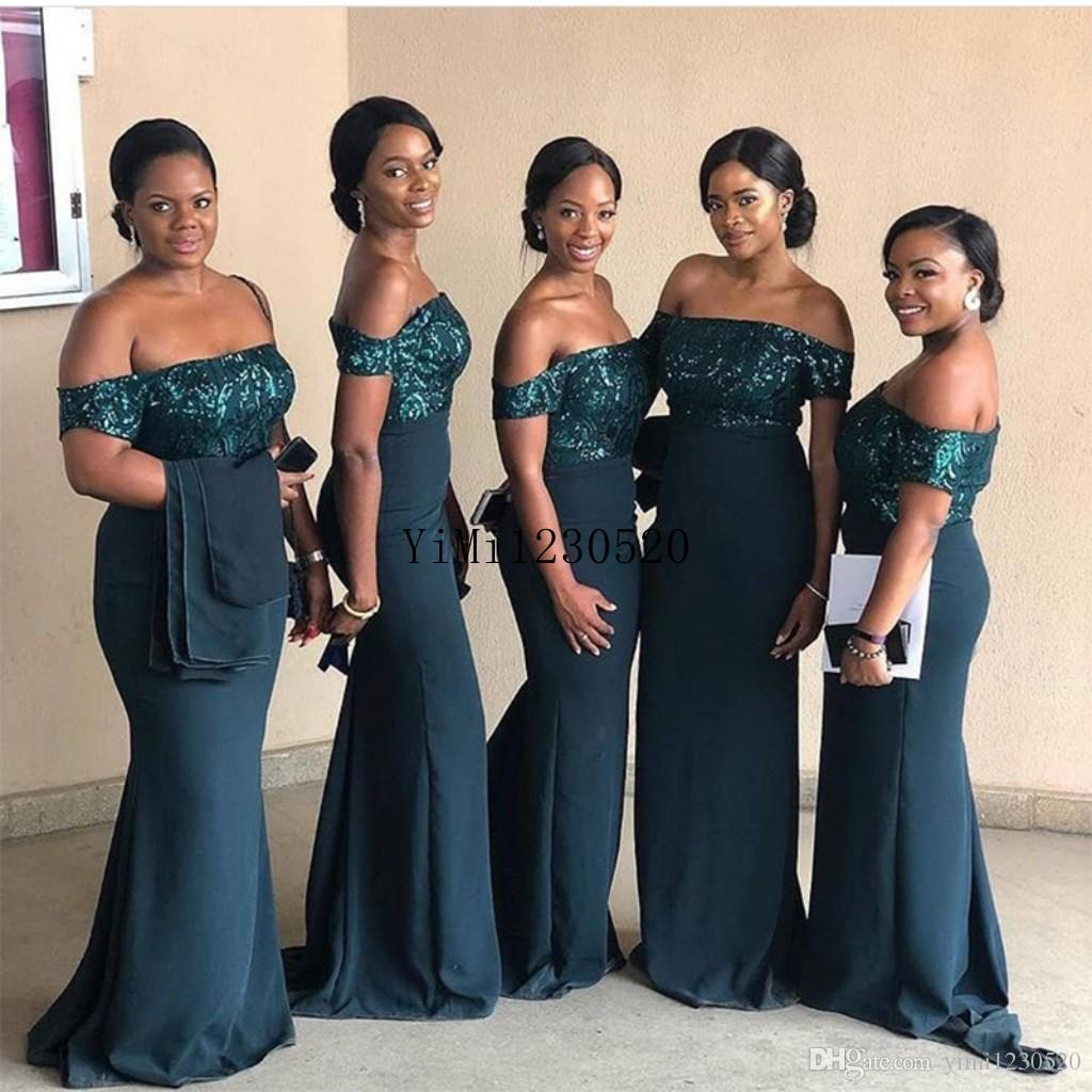 Hunter Green African Mermaid Bridesmaid Dresses Off Shoulder Sequined Garden Wedding Guest Evening Party Gowns Special Occasions 2019 Bridesmaid Dresses Purple Bridesmaids Dresses Online From Yimi1230520 72 51 Dhgate Com