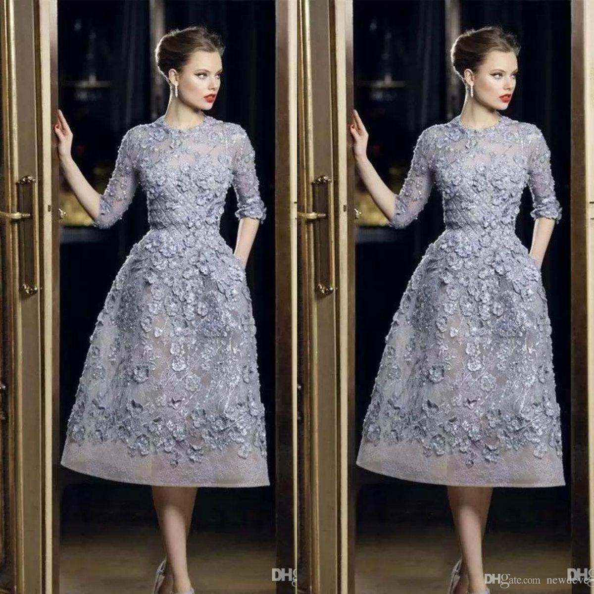 Elie Saab vestidos de noche elegante del Applique del cordón Una línea de vestidos de Prom 3/4 té largo de la manga Longitud atractivas del partido formal de la celebridad vestido personalizada