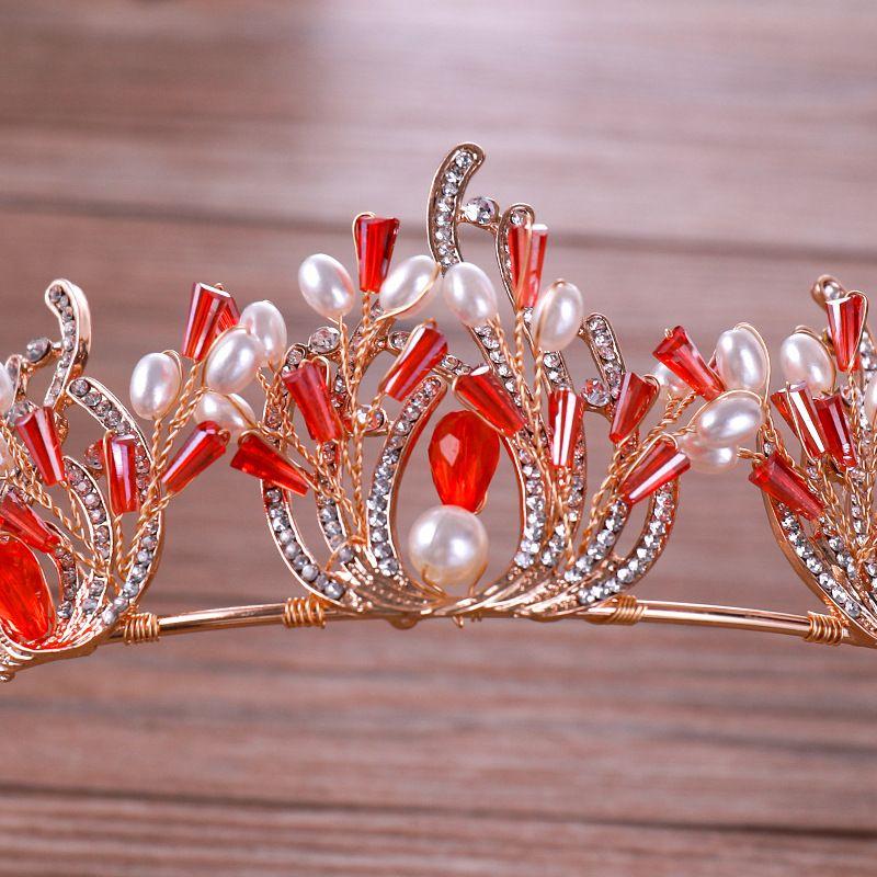 Kupferdrahtzopf Handgemachte Strass Braut Krone Diademe Roter Kristall Diadem Diademe für Braut Stirnbänder Hochzeit Haarschmuck