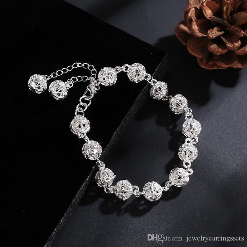 Bracelet en argent plaqué de mode bracelet de charme de mariage modèle simple 8MM Femmes mignonnes dame cadeau d'anniversaire cadeau boule creuse bracelet