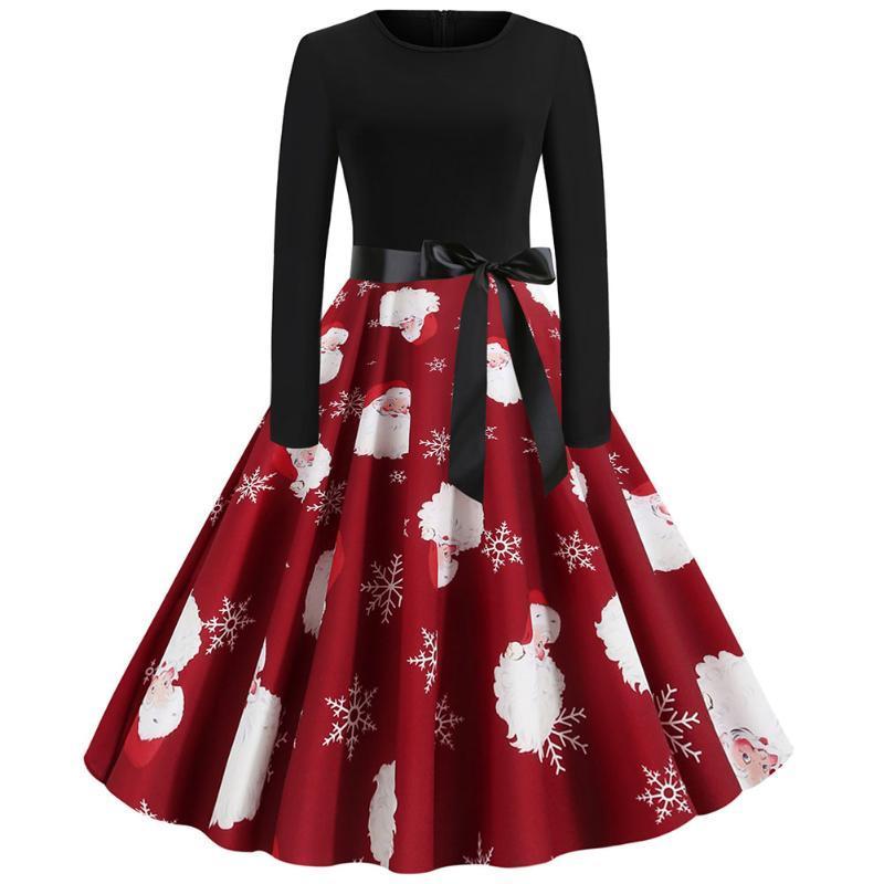 Round Neck Ladies Long Sleeve Autumn Elegant Women Dress With Belt Stretch High Waist Party Midi Soft Vintage Christmas Print